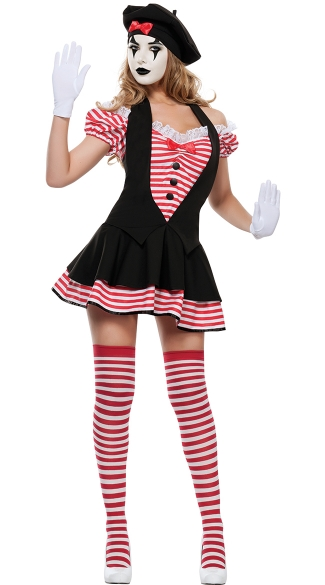 Candy Striped Mime Costume, Sexy Circus Mime Costumes, Sexy Adult Mime Costumes