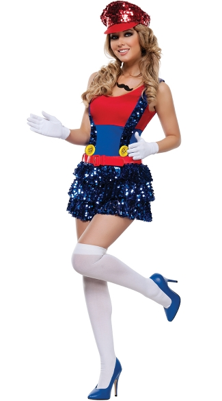 Block Jumping Plumber Costume, Video Game Superhero Halloween Costumes, Sexy Plumber Halloween Costume