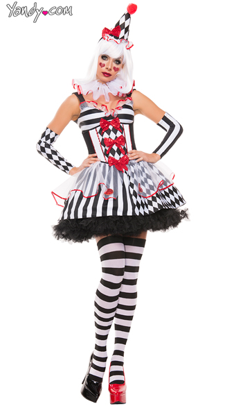 Harlequin Clown Costume, Sexy Clown Costume, Black And White Clown Costume