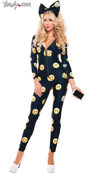 Emoji Catsuit Costume, Sexy Jumpsuit Costume, Full Body Costume