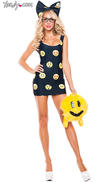 Sexy Happyface Emoji Costume, Funny Sexy Costume, Sexy Smiley Costume