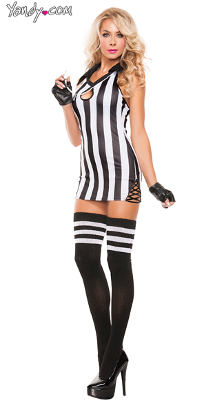 Sexy Halter Referee Costume, Key Hole Black and White Referee Costume, Sexy Striped Referee Costume