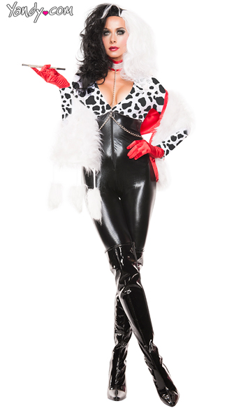 Puppy Villain Costume, Puppy Crazy Costume, Cruella de Vil Costume, Dalmatian Witch Costume