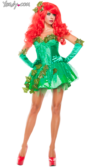 Ivy Seductress costume, Sexy Green Leaf Ivy Costume, Ivy Villain Costume