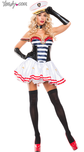 Mistress Sailor Costume, Sexy Patriotic Sailor Costume, Red White and Blue Flirty Sailor costume