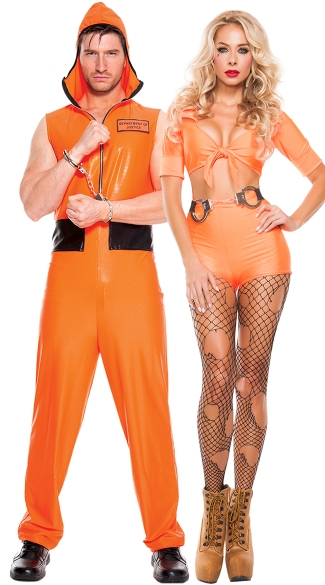 Jailbait Hotties Couples Costume, Jailbait Hottie Prisoner Costume, Sexy Orange Criminal costume, High Waisted Orange Jail jumpsuit costume, Men\'s Escaped Convict Costume, Men\'s Prisoner Costume