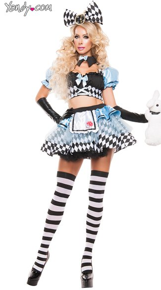 Crazy Alice Costume, Sexy Wonderland Hottie Costume, Black and Blue Sexy Alice Costume
