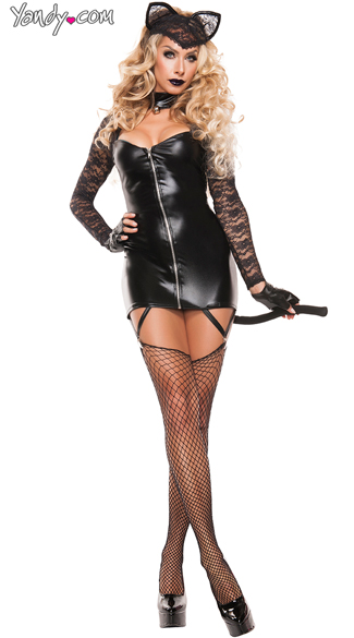 Feline Bandit costume, Faux Leather Cat Burglar costume, Sexy Lace Feline Bandit costume