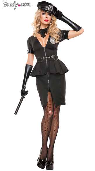 Elegant Cop costume, Black Sexy Police Officer costume, Sexy Elegant Police Officer Costume