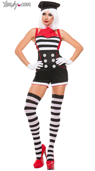 Mime, All Mime costume, Sexy Pantomime costume, Flirty Striped Mime costume