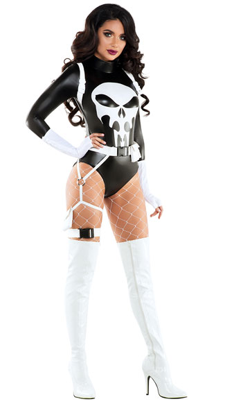 The Punishing One Costume, villain costume, sexy villain costume, superhero costume, sexy superhero costume
