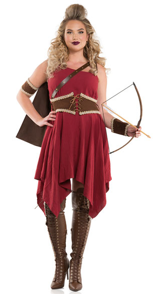Plus Size Hooded Huntress Costume, plus size sexy hooded huntress costume, plus size huntress costume, plus size sexy huntress costume, plus size warrior costume, plus size sexy warrior costume