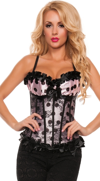 Plus Size Polkadot Satin Corset, Plus Size Tight Fitting Top With Ruffles, Plus Size Sexy Lace Up Back Structured Corsets