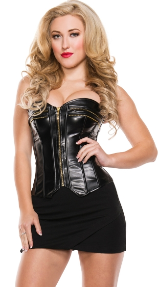Seductress Black Leather Corset, Black Faux Leather Tops, Skin Tight Lace Up Black Zipper Corsets