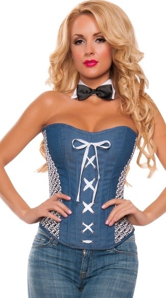 Plus Size Lace-Up Denim Corset, Plus Size Sweetheart Neckline Skin Tight Tops, Plus Size Sexy Jean Material Corsets