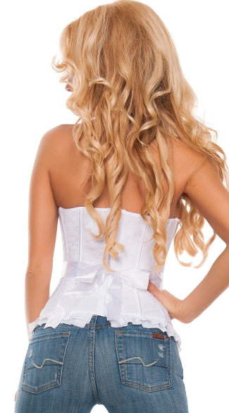 Plus Size Primped and Pretty Satin Trimmed Bustier Corset