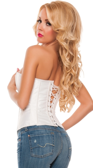 Plus Size Lace Trimmed Corset with Rhinestone and Bows