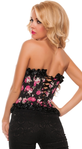 Floral Corset with Ruffled Satin Trim