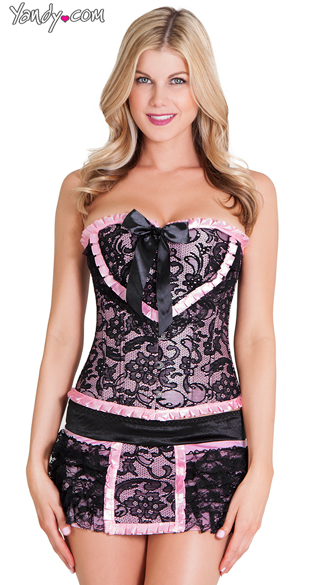 Plus Size Black and Pink Corset