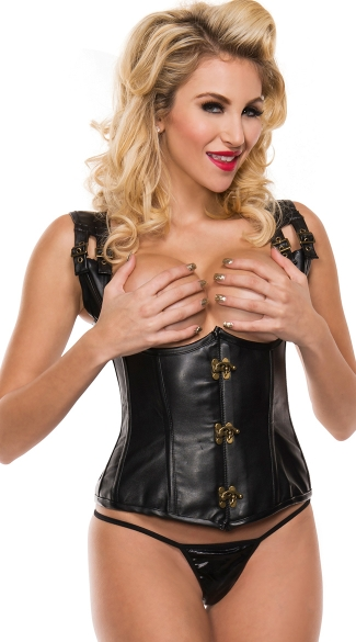Faux Leather Open Cup Corset with Brass Details