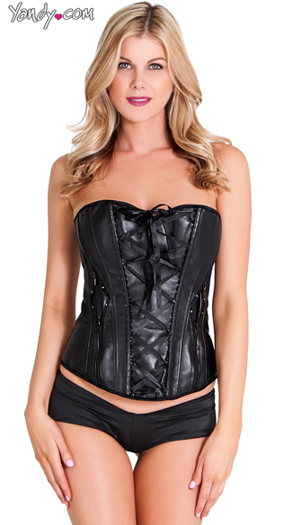 Plus Size Mixed Feelings Corset, Plus Size Sexy Strappy Faux Leather Corsets, Plus Size Black Lace Up Bustiers
