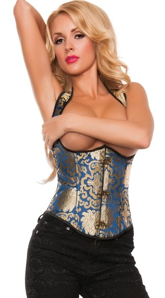 Plus Size Cupless Gold and Blue Brocade Corset