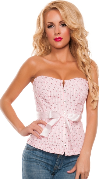 Spring Has Sprung Pink Floral Corset, Pink Corset with Flowers