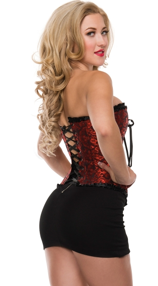 Plus Size Swirl Brocade Corset with Satin Trim