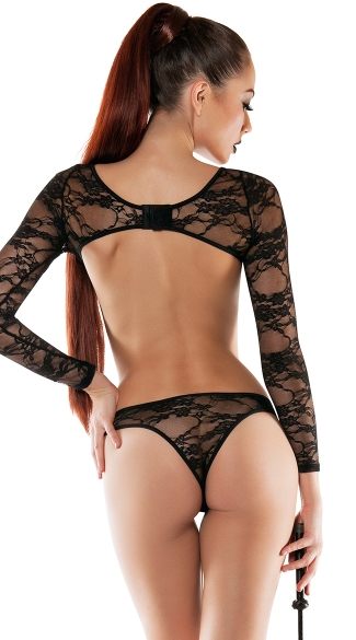 Long Sleeve Lace Bodysuit with Open Back