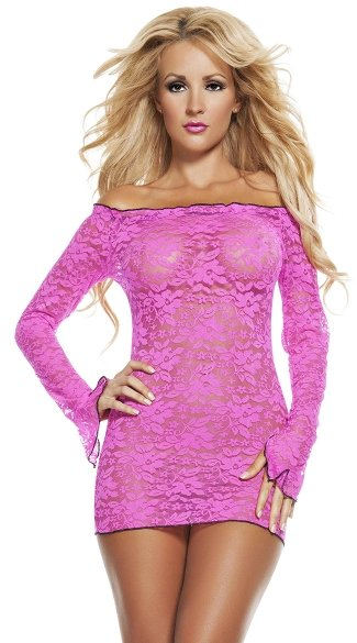 Scalloped Lace Neon Mini Dress