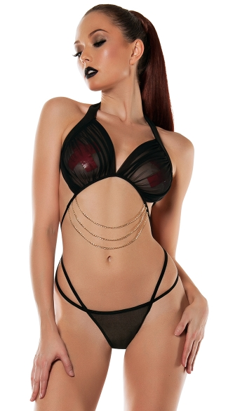 Criss-Cross Strappy Teddy with Chains