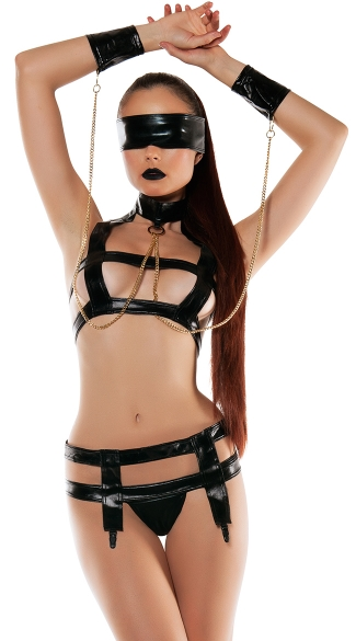 Faux Leather Bra Top Bondage Set