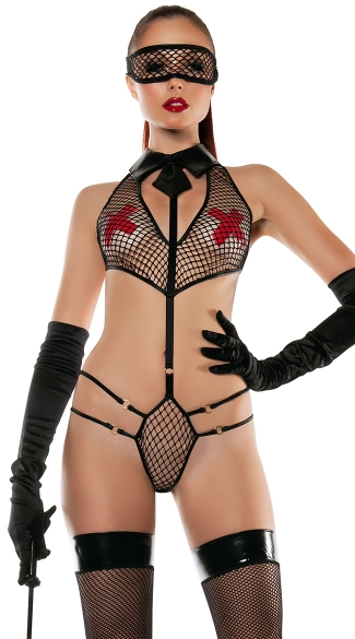 Collared Fishnet Playsuit