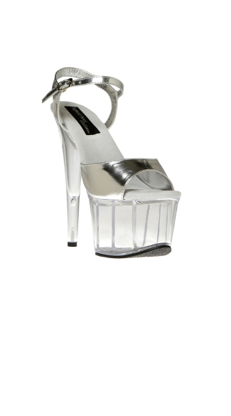 Two Tone Stiletto Sandal with Clear Platform