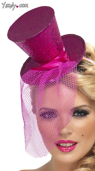 Hot Pink Glitter Top Hat