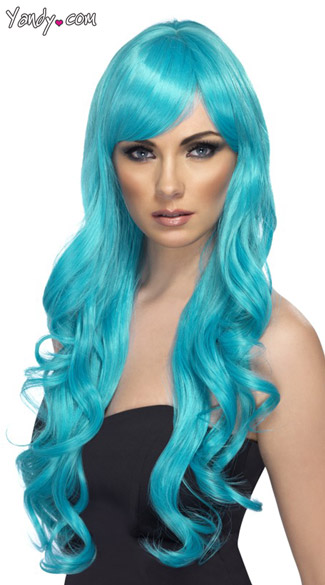 Long Aqua Desire Wig With Curls,Female Adult Long Curly Aqua Wig, Aquatic Wigs, Aqua Womens Wig