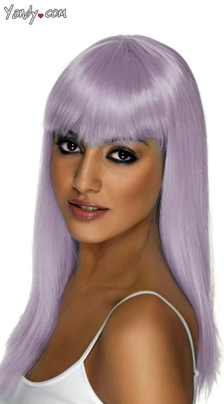 Lilac Glamourama Wig, Long Light Purple Wig