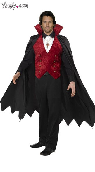 Vampire Cape and Vest, Vampire Costume Cape, Mens Vampire Cape