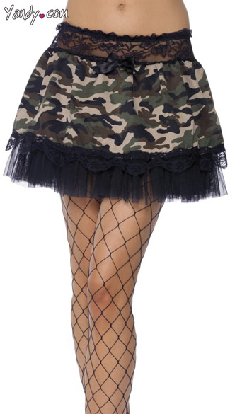 Adult Camouflage Tutu With Black Lace, Black Lace Camouflage Tutu Skirt, Camouflage Mini Skirt