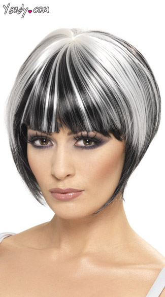 Quirky Black and White Bob Wig, Black Bob Wig with White Streaks, Black and White Wig