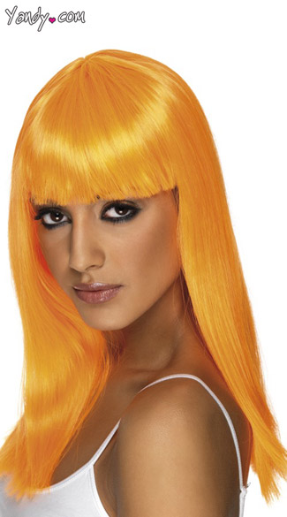 Neon Orange Long Costume Wig With Bangs