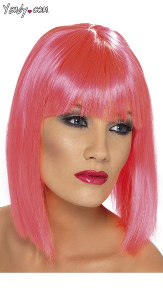 Pink Blunt Cut Wig With Fringe