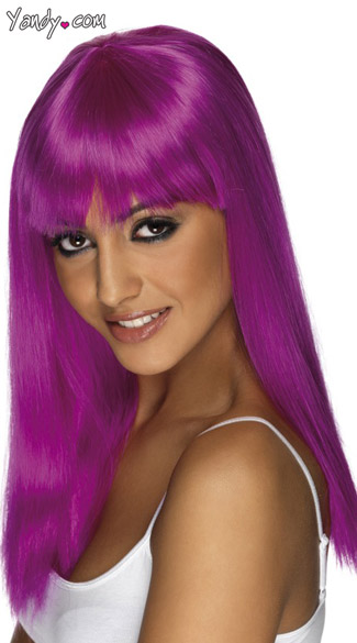 Purple Glamourama Wig, Glamorous Purple Wig, Straight Purple Wig