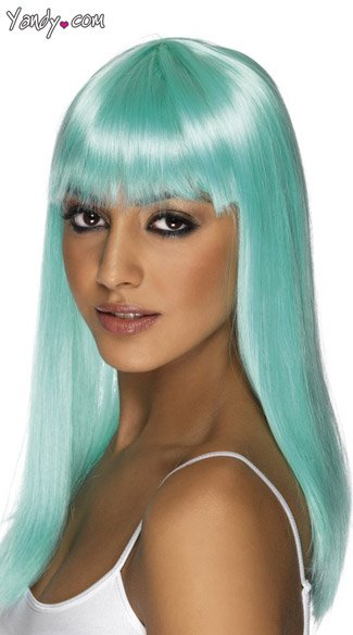 Aqua Long Glamor Wig With Bangs