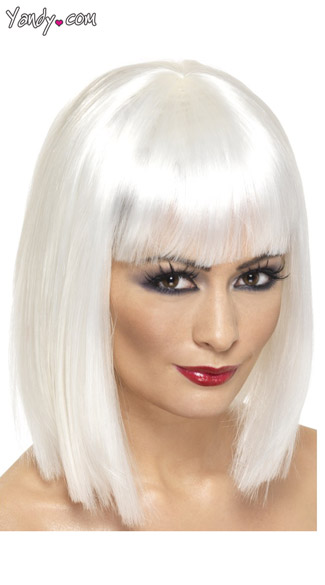 White Short Blunt Cut Wig With Fringe