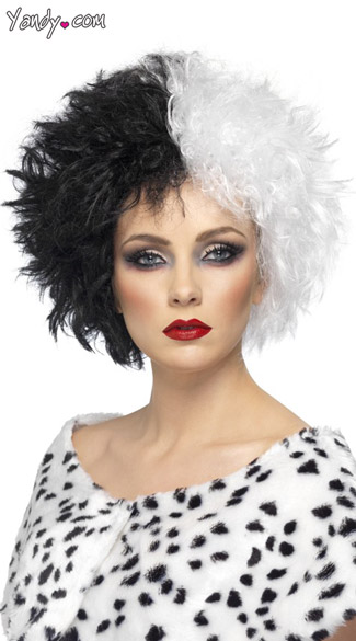 Sinister Cruella Black And White Costume Hair Wig, Dual Black And White Hair Wig, Black And White Costume Wig