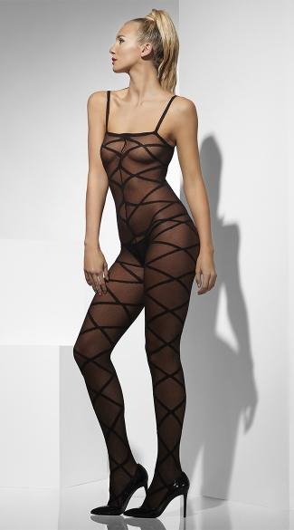 Criss Cross Mesh Bodystocking, Spaghetti Strap Bodystocking