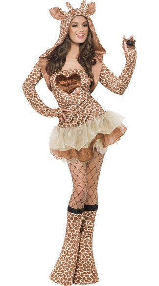 Flirty Giraffe Costume, Adult Giraffe Costume, Giraffe Halloween Costume