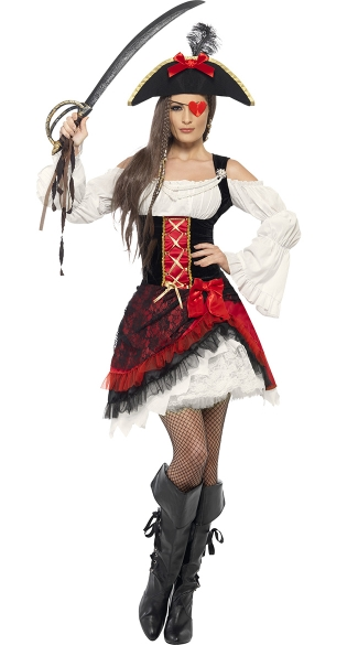 Glamorous Lady Pirate Costume, Sexy Pirate Costume, Pirate Dress Costume