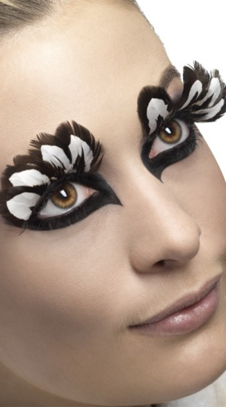 Fever Brown And White Feather Eyelashes, Brown Feather Eyelashes, Costume Eyelashes, Chicken Feather Eyelashes